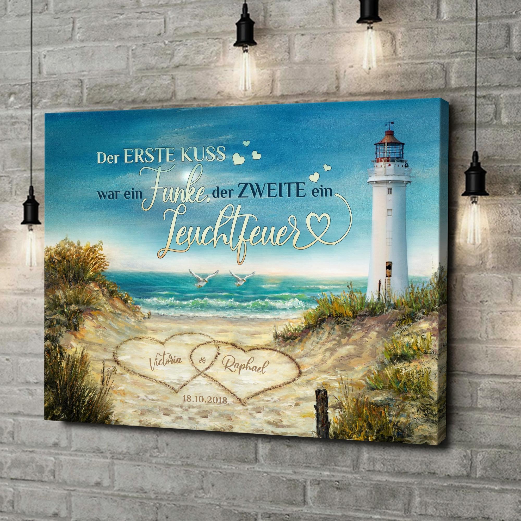 Leinwandbild personalisiert Leuchtfeuer der Liebe