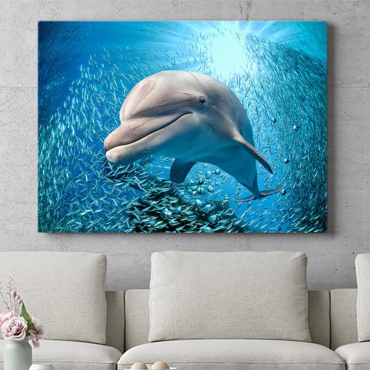 Personalisierbares Geschenk Delfin im Meer