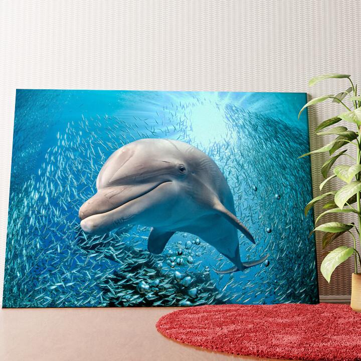 Personalisiertes Wandbild Delfin im Meer