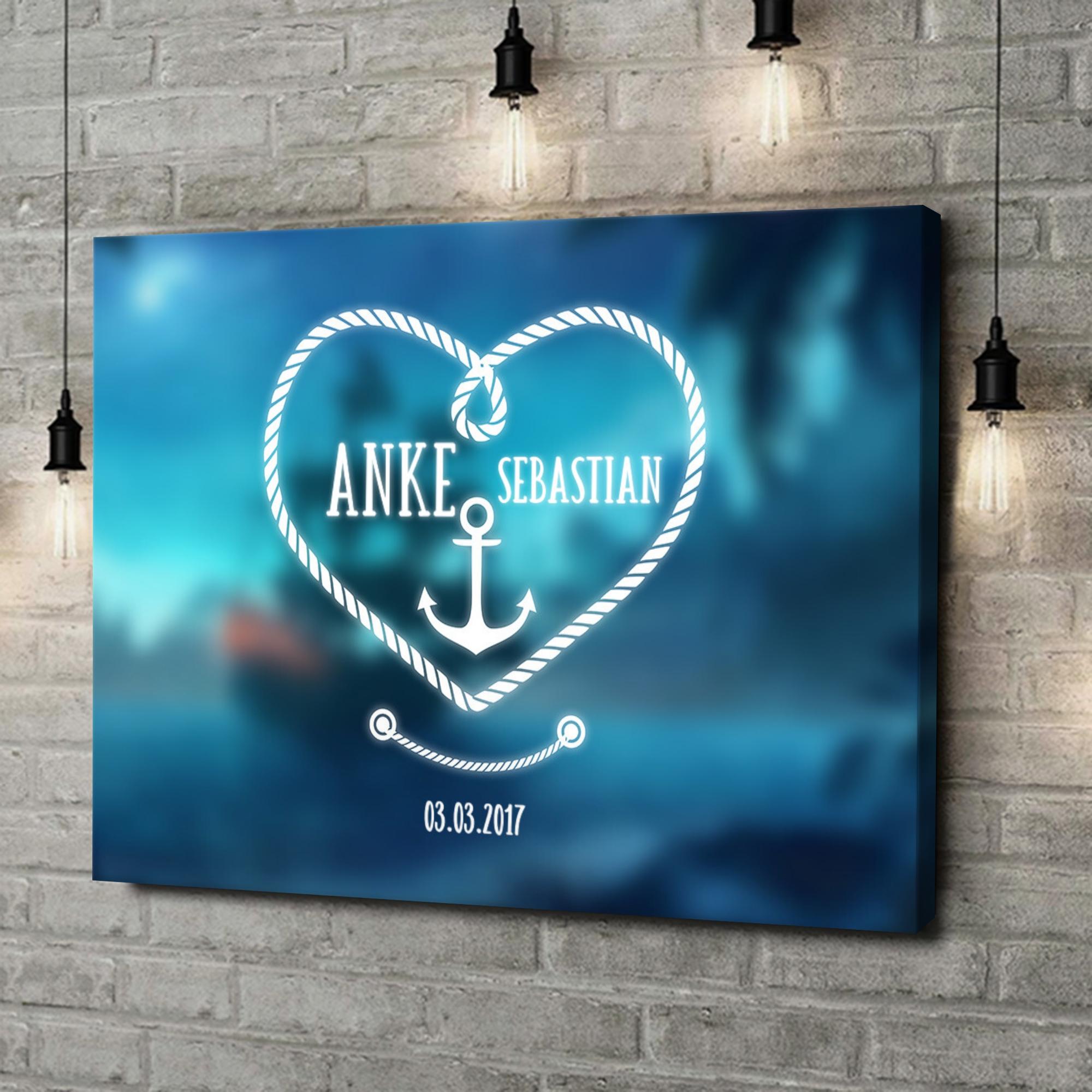 Leinwandbild personalisiert Anker der Liebe