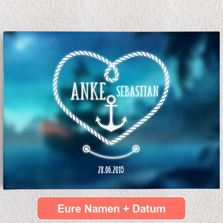 Personalisiertes Leinwandbild Anker der Liebe