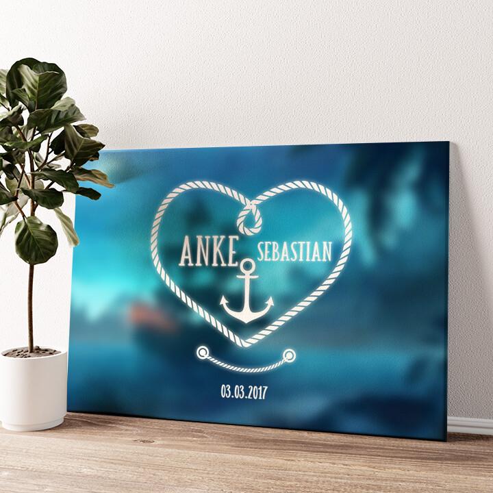 Anker der Liebe Wandbild personalisiert
