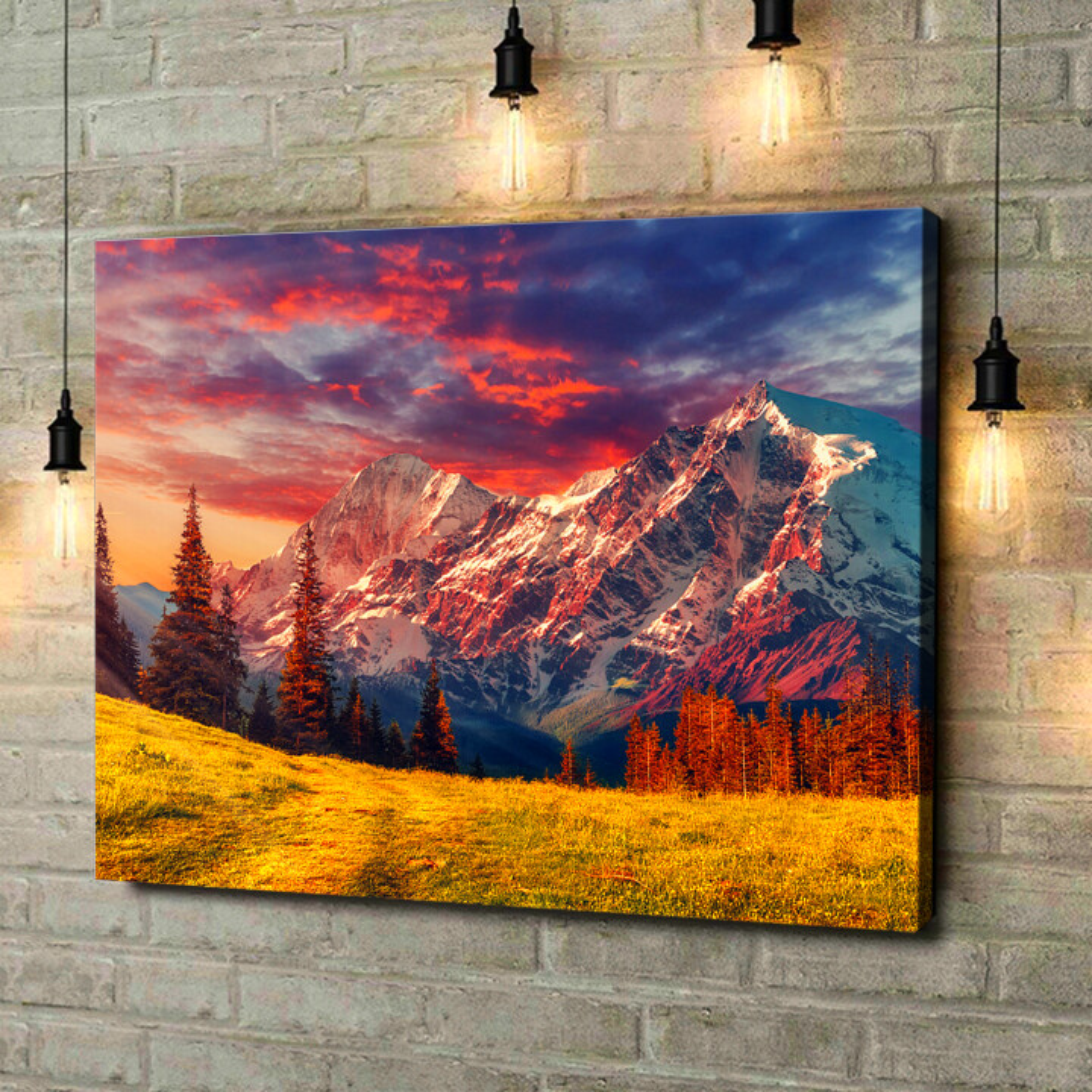 Leinwandbild personalisiert Gebirgslandschaft Alpen