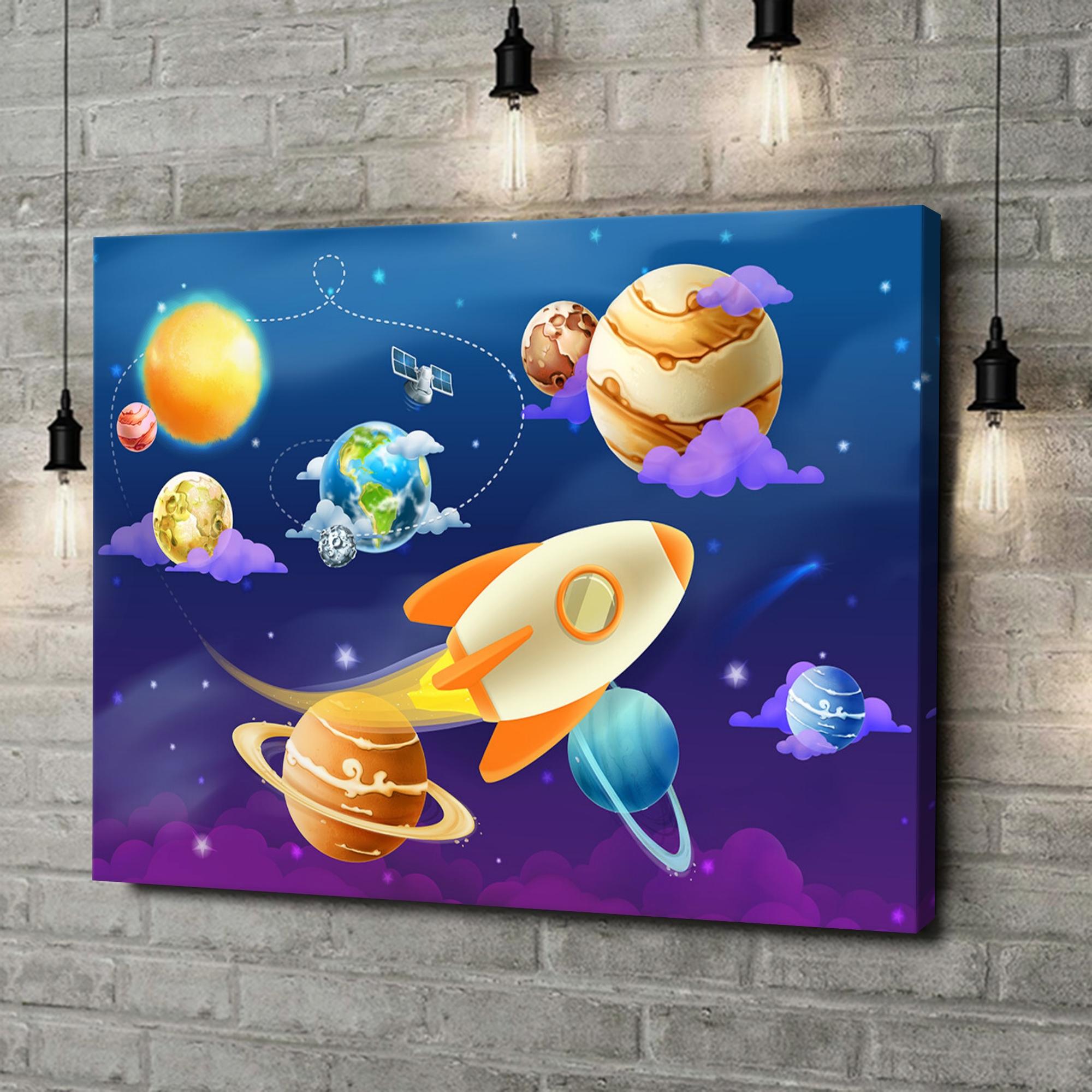 Leinwandbild personalisiert Cartoon Planetensystem