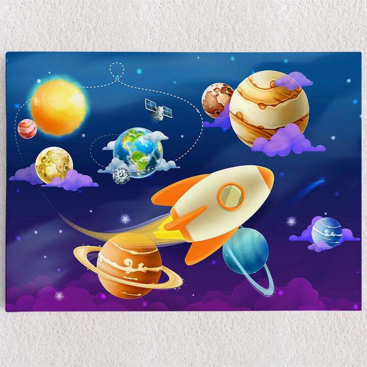 Personalisiertes Leinwandbild Cartoon Planetensystem