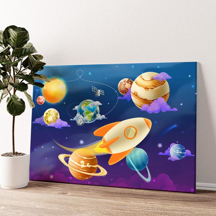 Cartoon Planetensystem Wandbild personalisiert