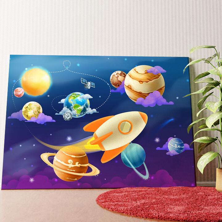 Personalisiertes Wandbild Cartoon Planetensystem