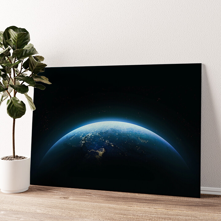Erde bei Nacht Wandbild personalisiert