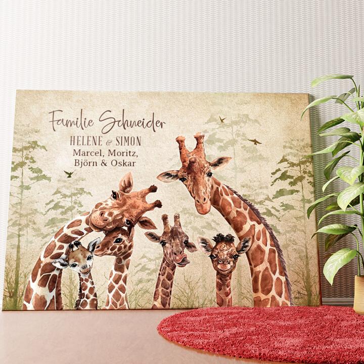 Personalisiertes Wandbild Giraffenfamilie