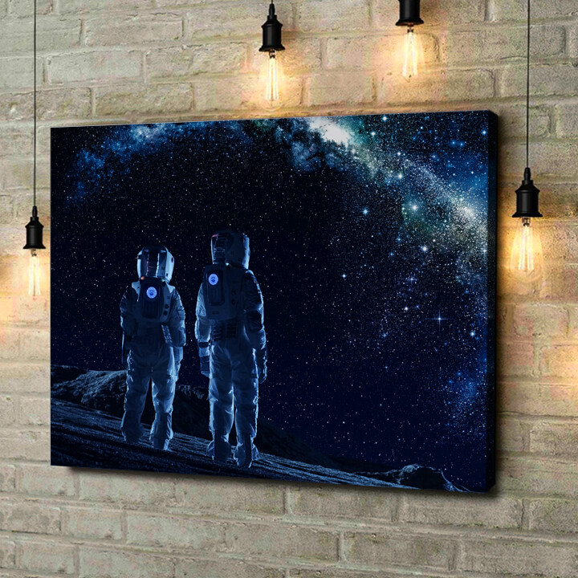 Leinwandbild personalisiert Zwei Astronauten
