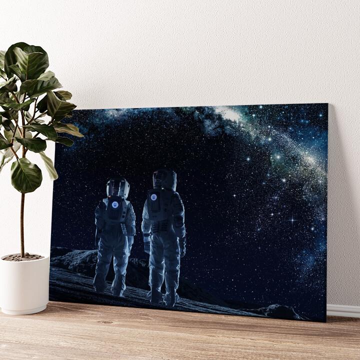 Zwei Astronauten Wandbild personalisiert