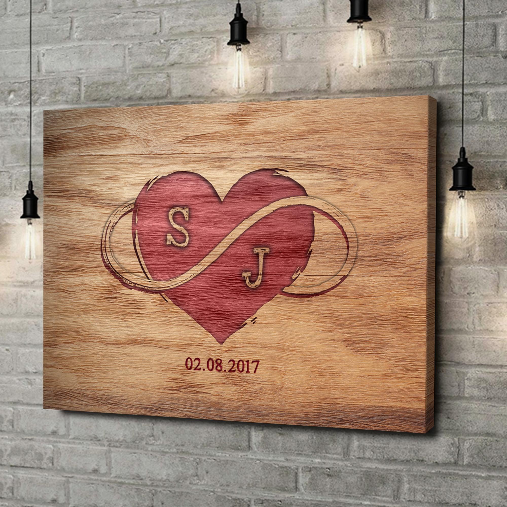 Leinwandbild personalisiert Graviertes Herz