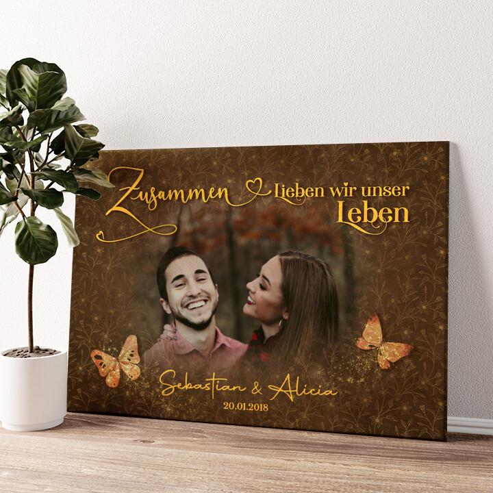 Glückliche Liebe Wandbild personalisiert