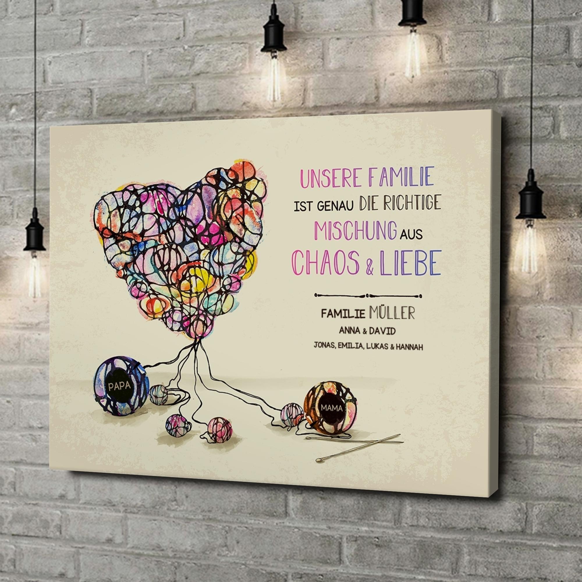 Leinwandbild personalisiert Strickmuster für Liebe