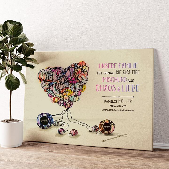 Strickmuster für Liebe Wandbild personalisiert