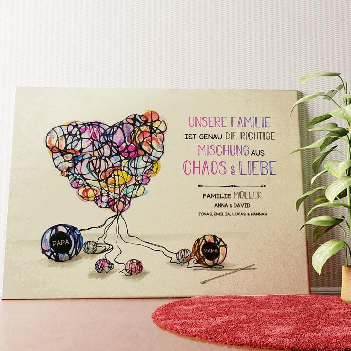 Personalisiertes Wandbild Strickmuster für Liebe