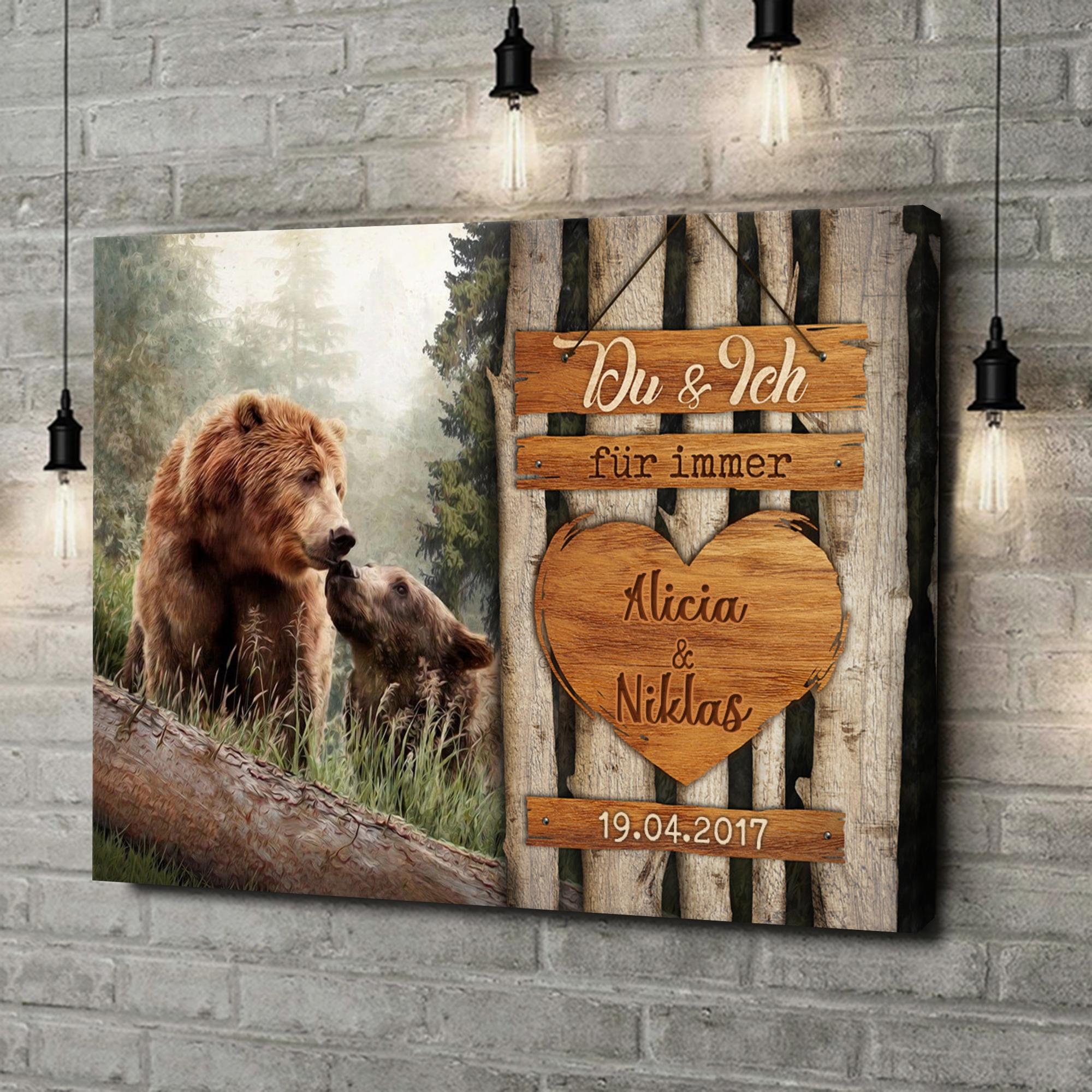 Leinwandbild personalisiert Bärenliebe