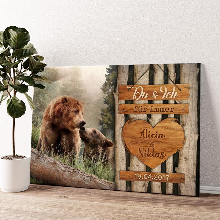 Bärenliebe Wandbild personalisiert