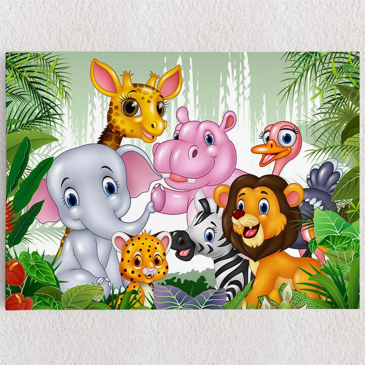Personalisiertes Leinwandbild Cartoon Baby Tiere