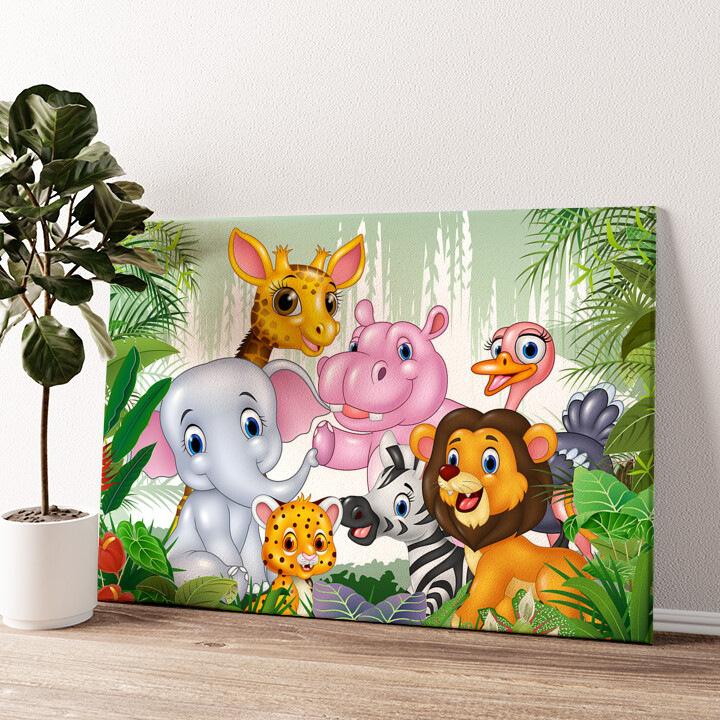 Cartoon Baby Tiere Wandbild personalisiert