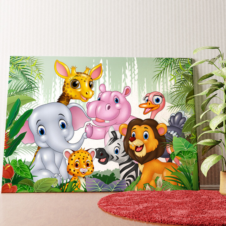 Personalisiertes Wandbild Cartoon Baby Tiere