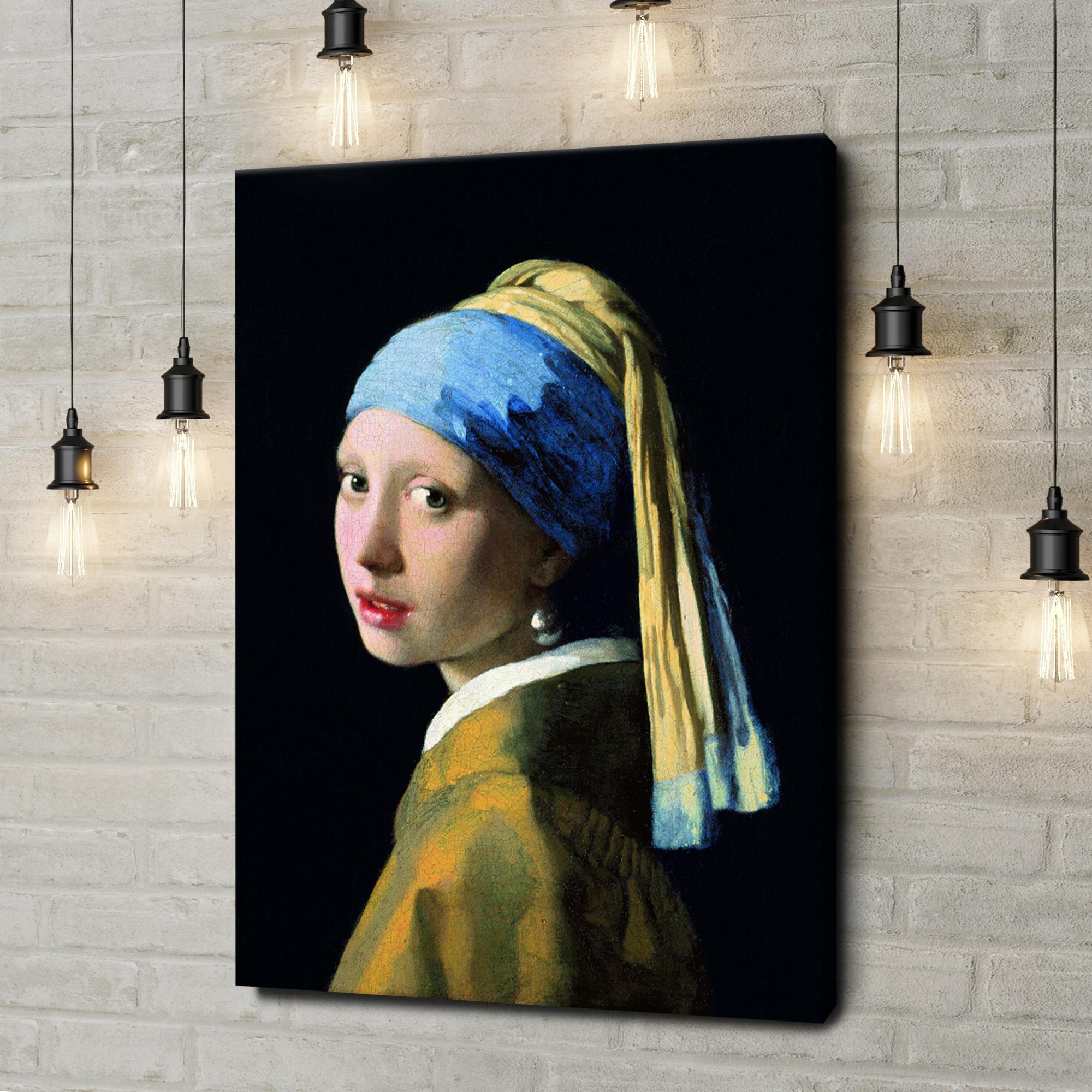 Leinwandbild personalisiert Mädchen mit dem Perlenohrring
