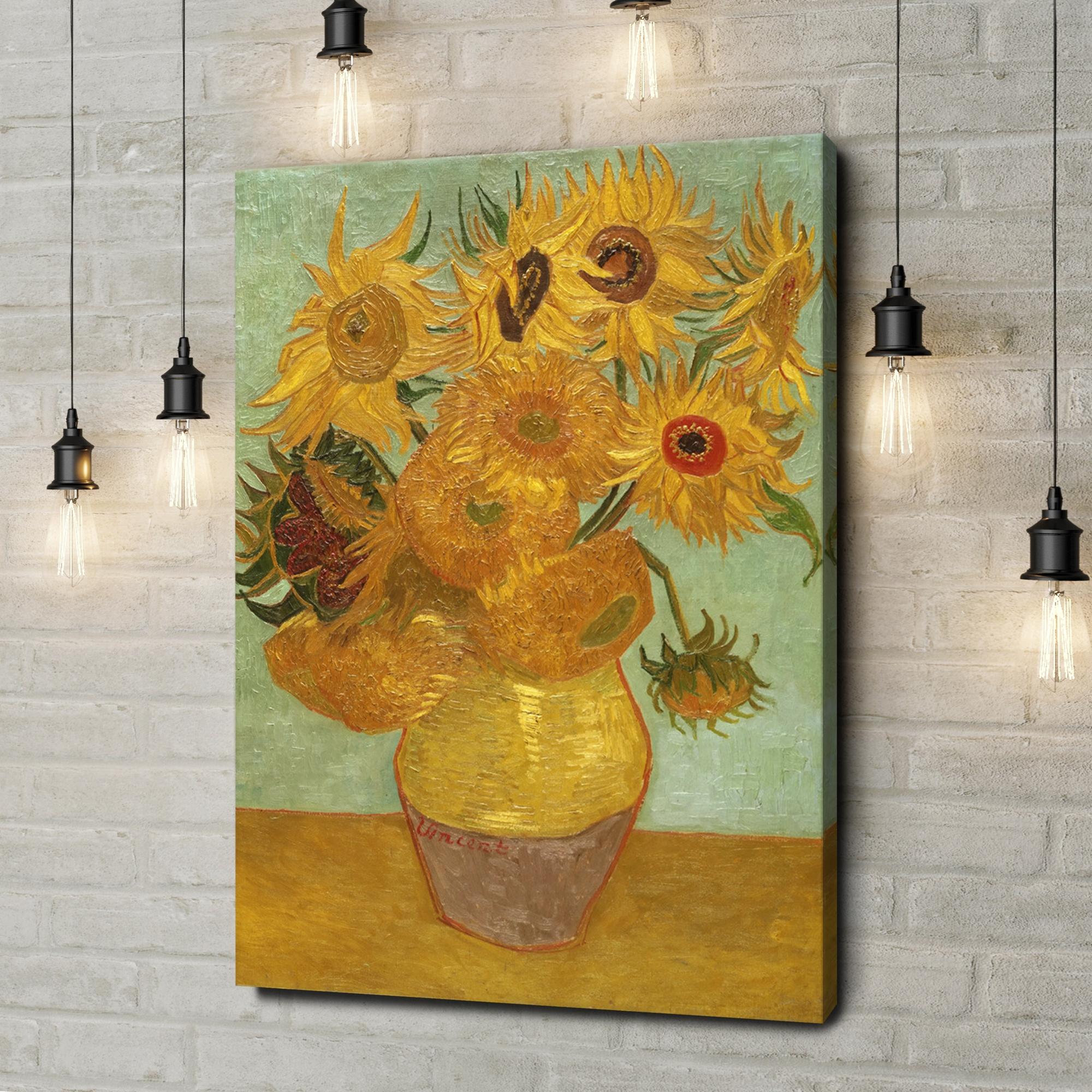 Leinwandbild personalisiert Vase mit Sonnenblumen