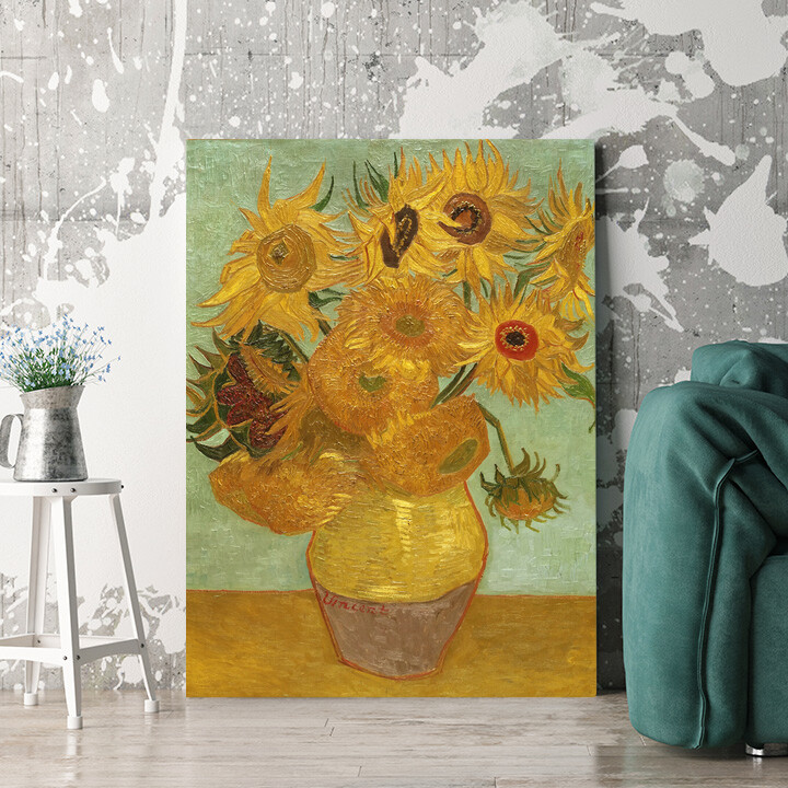 Personalisierbares Geschenk Vase mit Sonnenblumen