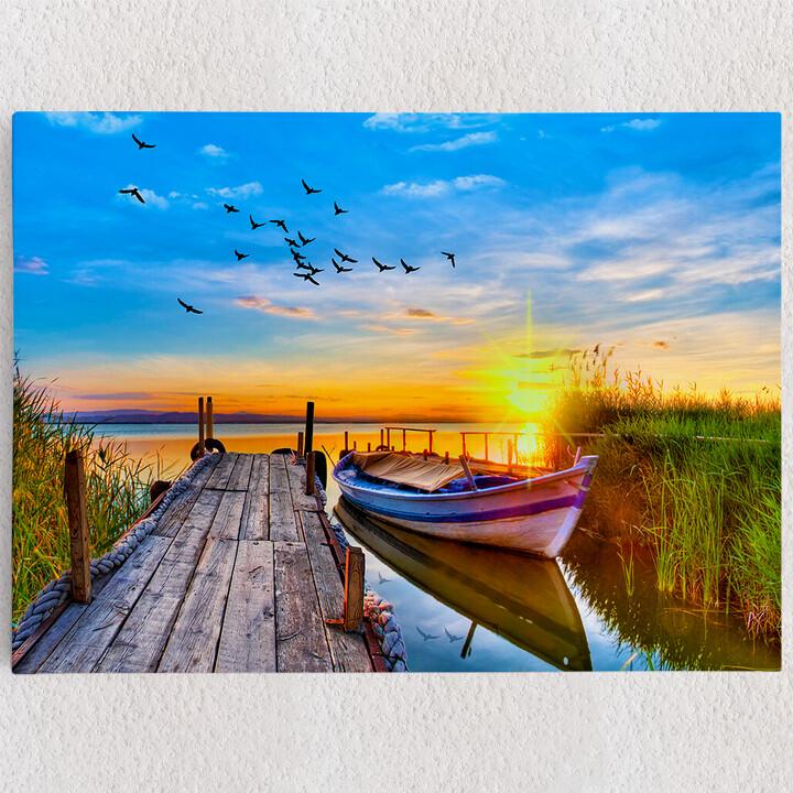 Personalisiertes Leinwandbild Boot am See