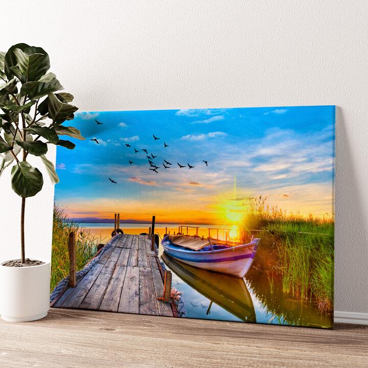 Boot am See Wandbild personalisiert