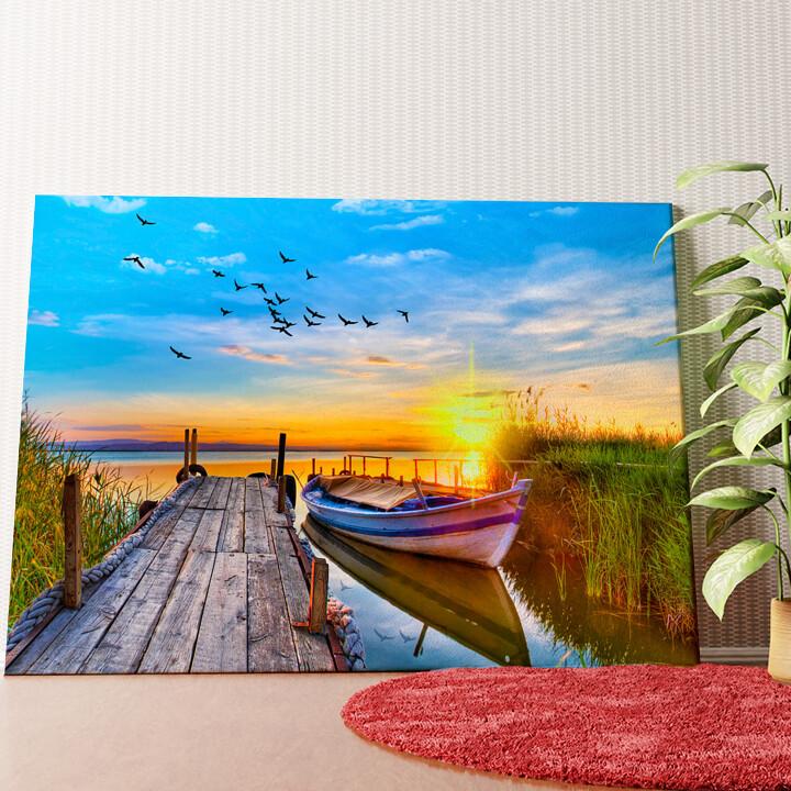 Personalisiertes Wandbild Boot am See