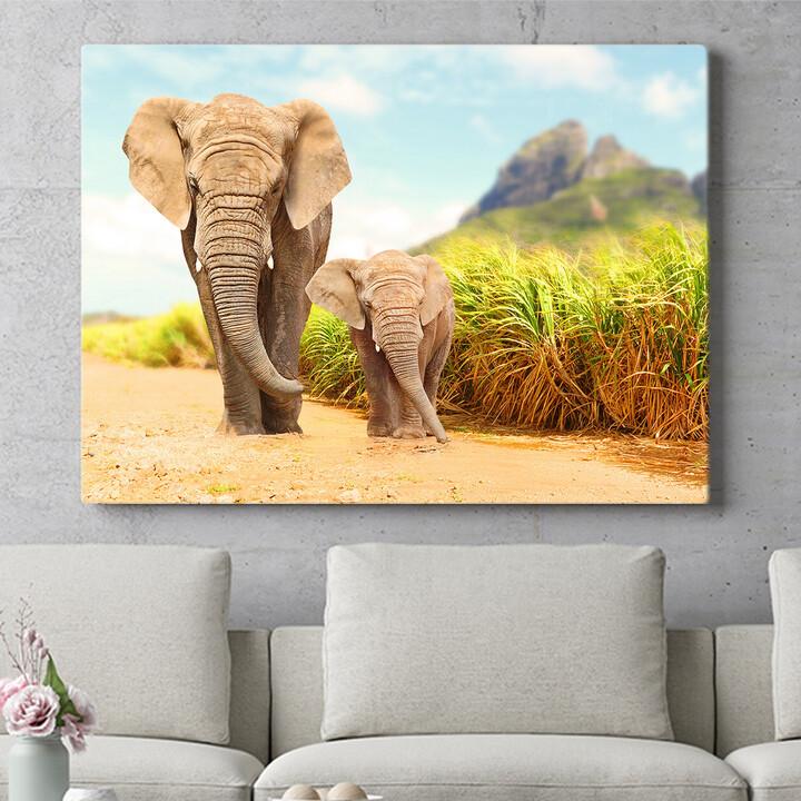 Personalisierbares Geschenk Elefanten in Afrika