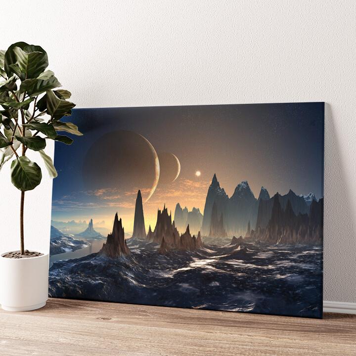 Fantasy Alien Planet Wandbild personalisiert