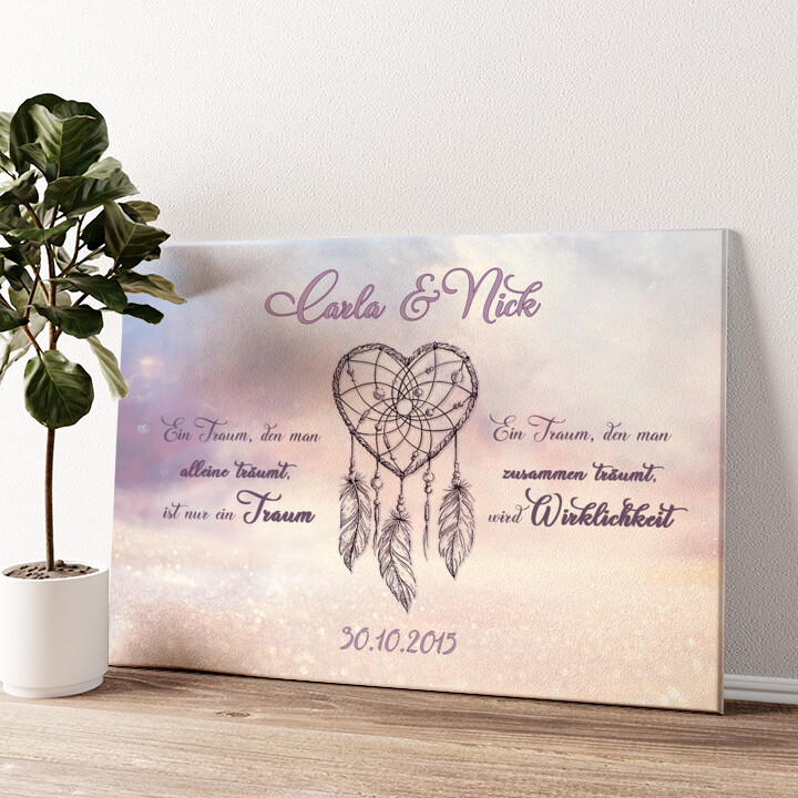 Traumhafte Liebe Wandbild personalisiert