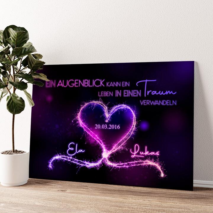 Knisternde Herzen Wandbild personalisiert