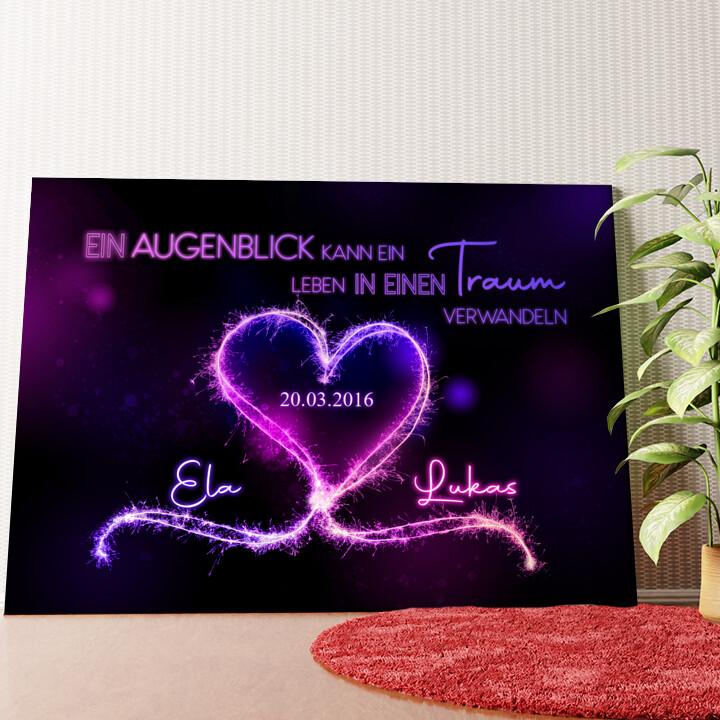 Personalisiertes Wandbild Knisternde Herzen