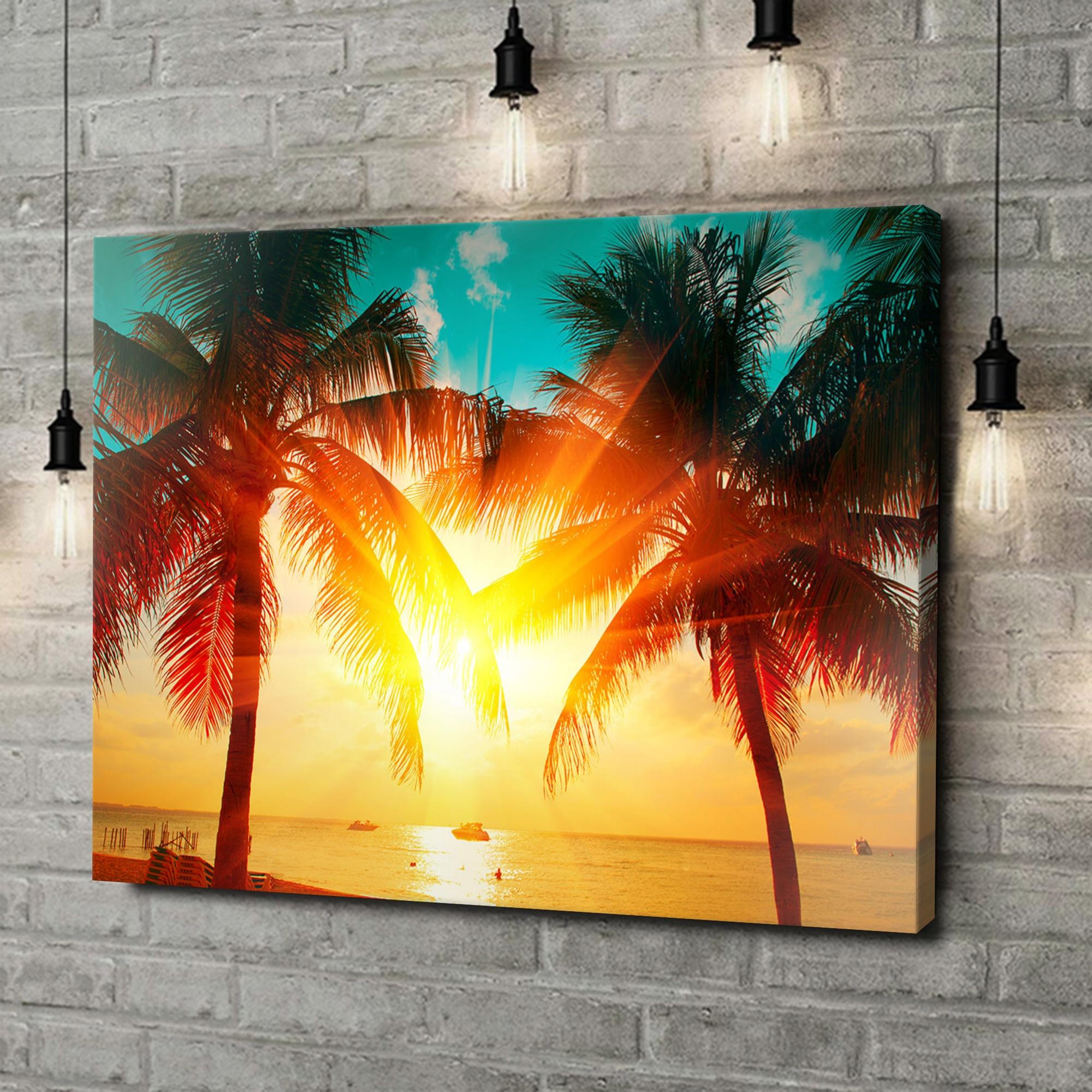 Leinwandbild personalisiert Palmen in der Karibik
