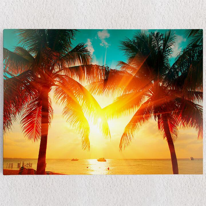 Personalisiertes Leinwandbild Palmen in der Karibik