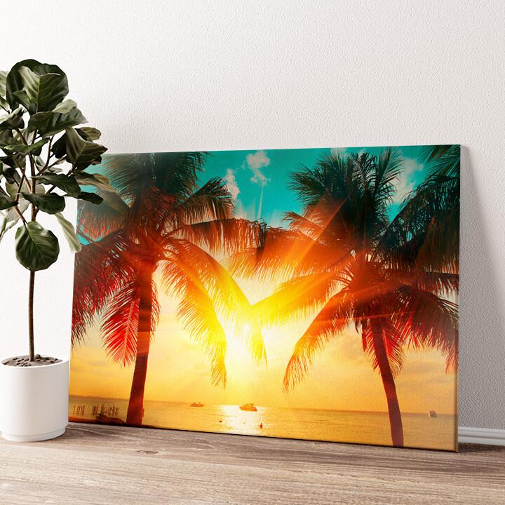Palmen in der Karibik Wandbild personalisiert