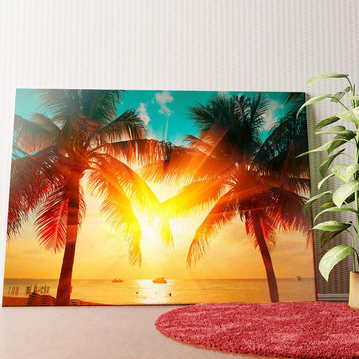 Personalisiertes Wandbild Palmen in der Karibik