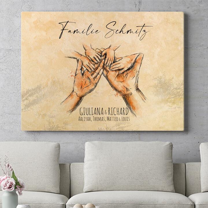 Personalisierbares Geschenk Familienhände