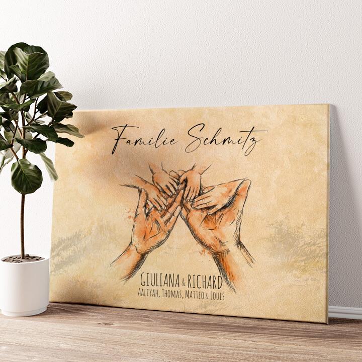 Familienhände Wandbild personalisiert