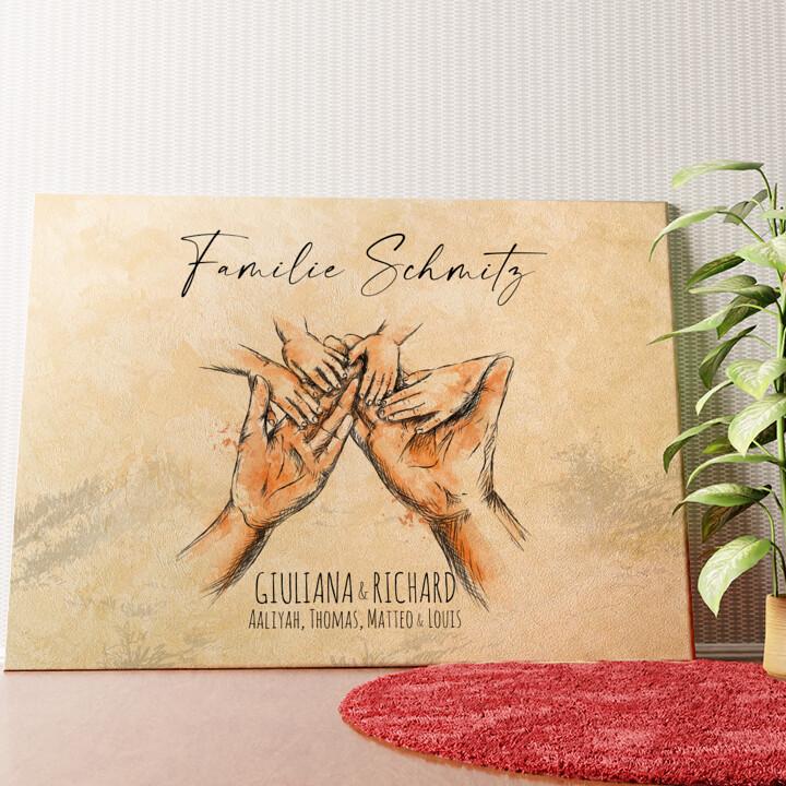 Personalisiertes Wandbild Familienhände