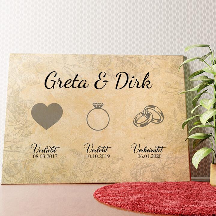 Personalisiertes Wandbild Verliebt Verlobt Verheiratet