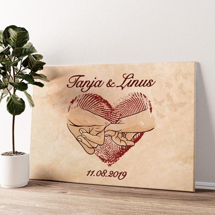Vereinte Herzen Wandbild personalisiert
