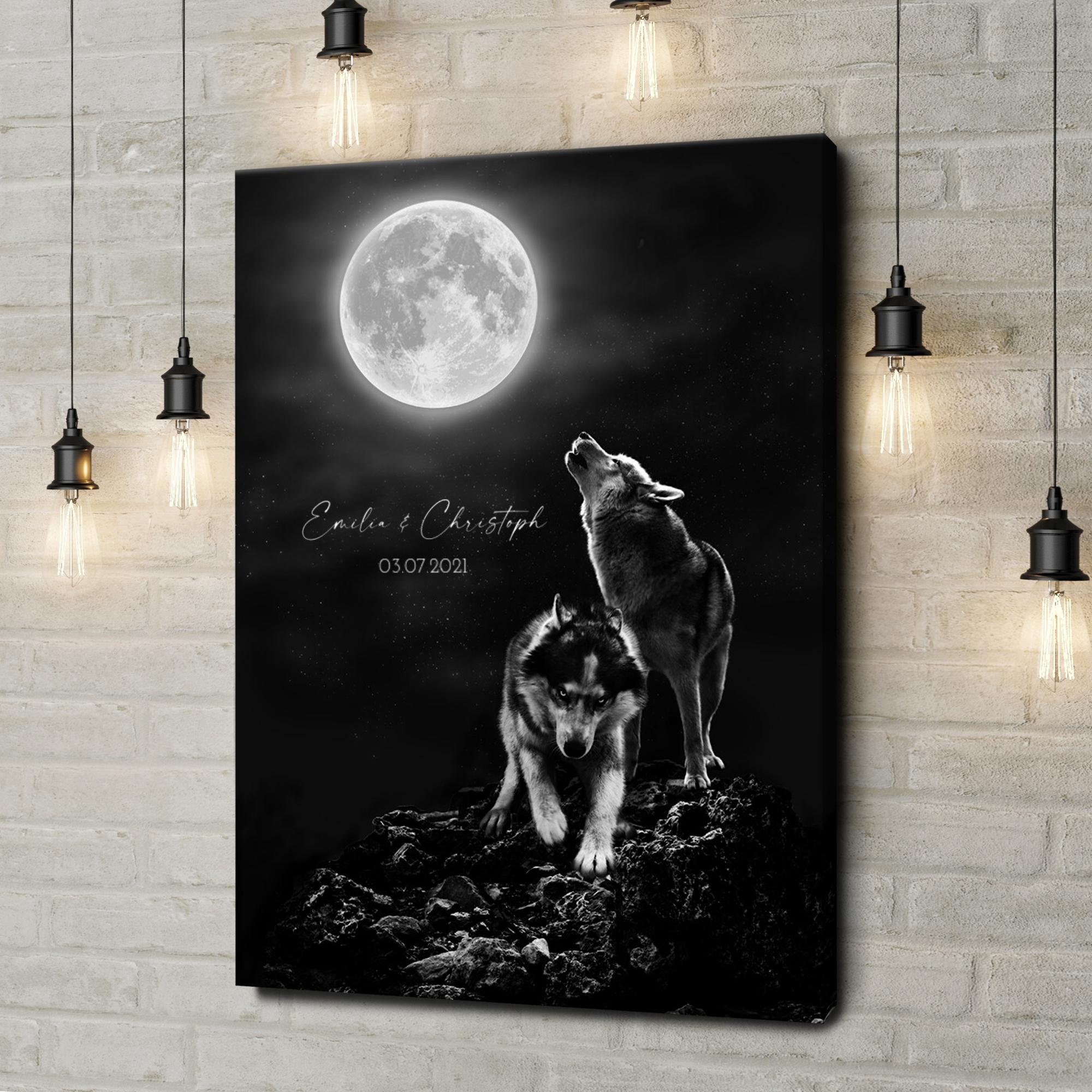 Leinwandbild personalisiert Wolfsliebe