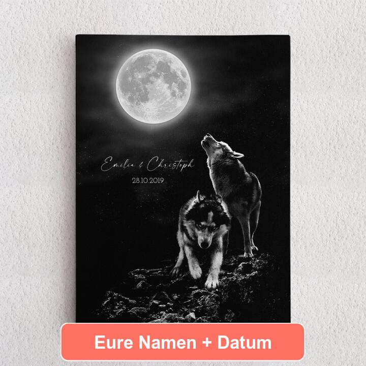 Personalisiertes Leinwandbild Wolfsliebe