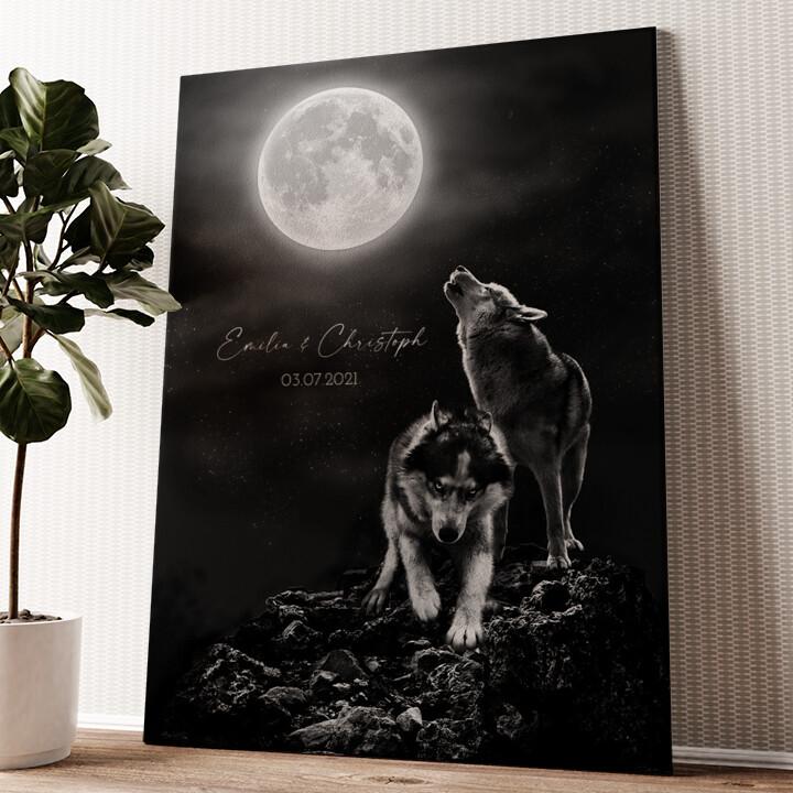 Wolfsliebe Wandbild personalisiert