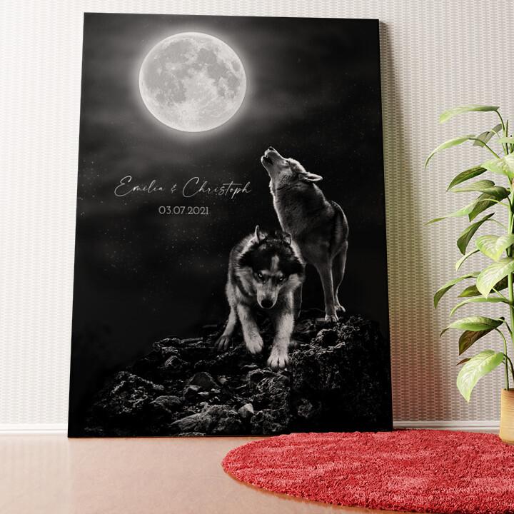 Personalisiertes Wandbild Wolfsliebe