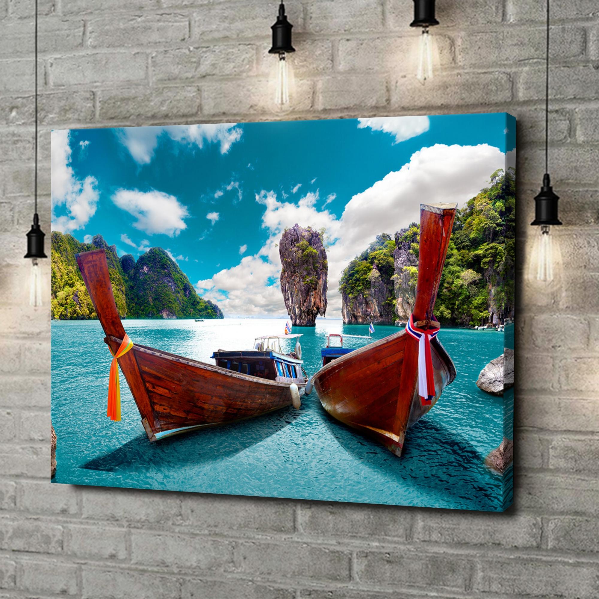 Leinwandbild personalisiert Boote vor Phuket - Thailand